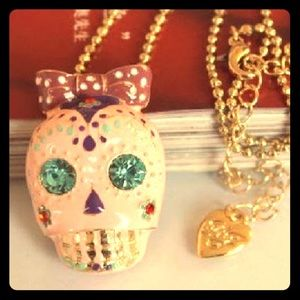 Betsey Johnson Pink Skull Pendant with Red Bow